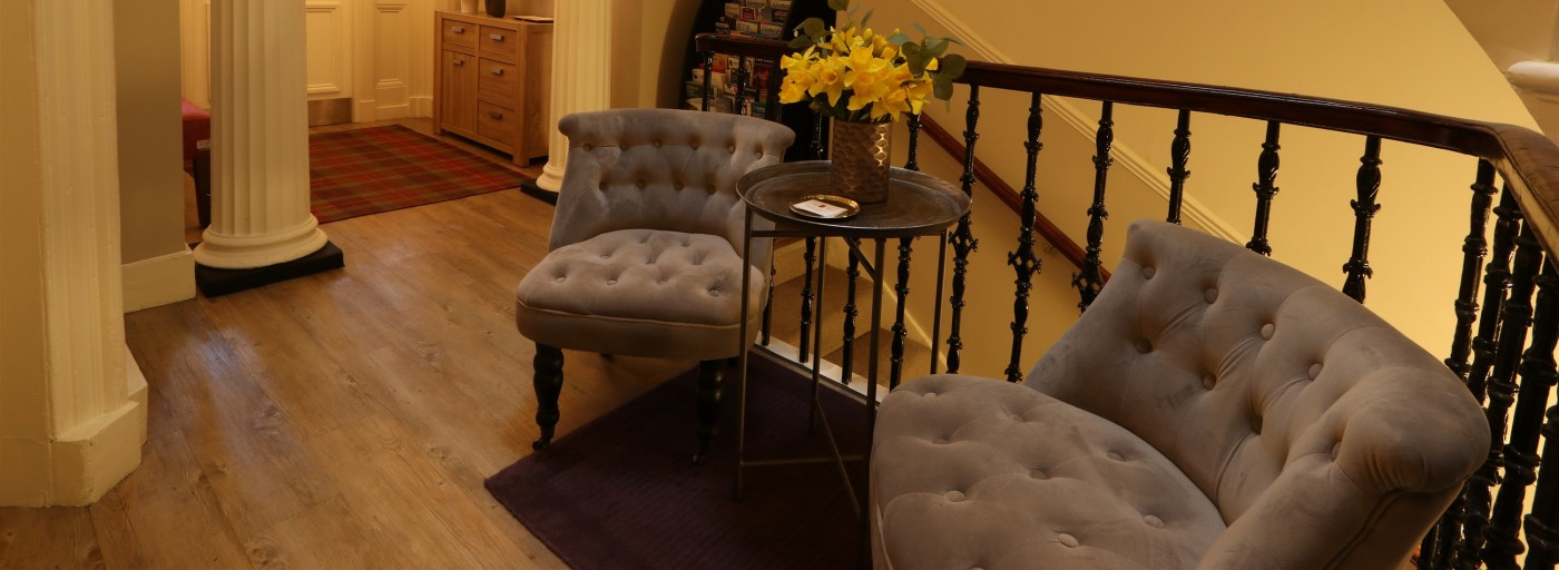 Relax in our entrance hall whilst planning your next Edinburgh adventure
